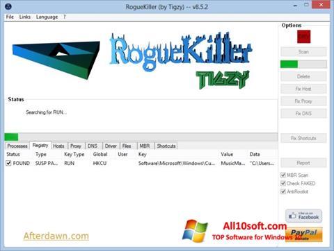 צילום מסך RogueKiller Windows 10