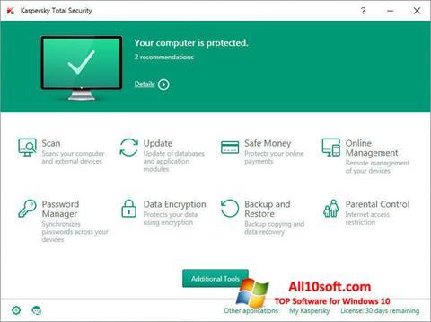 צילום מסך Kaspersky Total Security Windows 10
