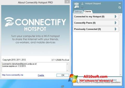 צילום מסך Connectify Windows 10