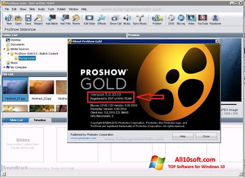 צילום מסך ProShow Gold Windows 10