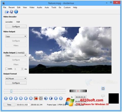 צילום מסך Avidemux Windows 10
