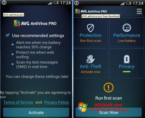 צילום מסך AVG AntiVirus Pro Windows 10