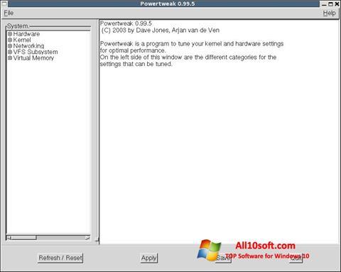 צילום מסך PowerTweak Windows 10