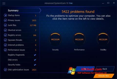 צילום מסך Advanced SystemCare Free Windows 10