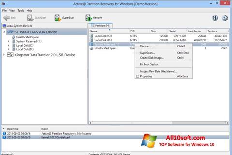 צילום מסך Active Partition Recovery Windows 10