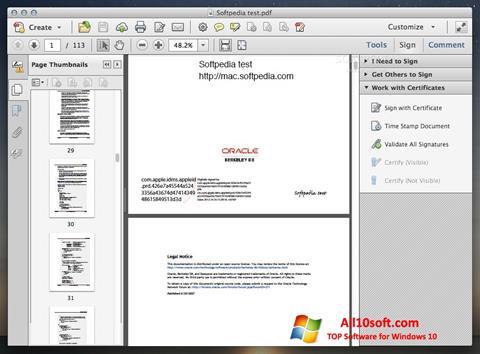 צילום מסך Adobe Acrobat Windows 10