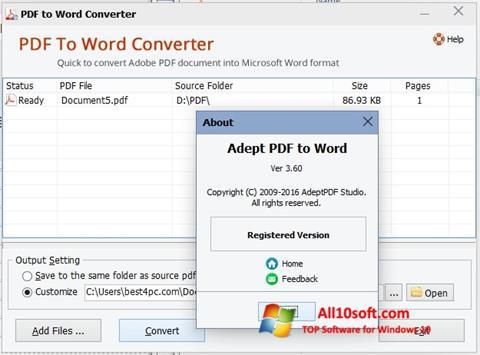צילום מסך PDF to Word Converter Windows 10