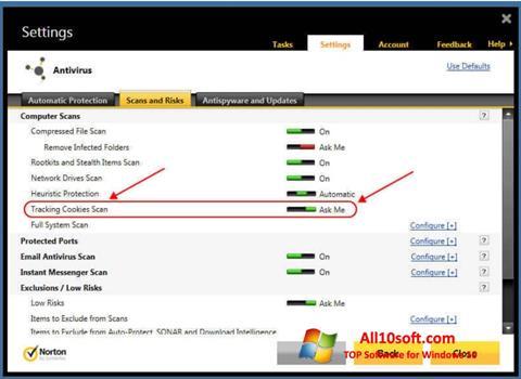 צילום מסך Norton Windows 10