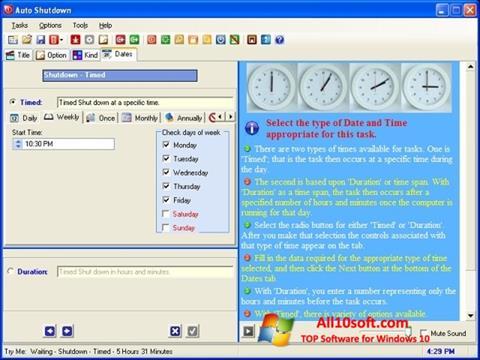 צילום מסך Auto ShutDown Windows 10