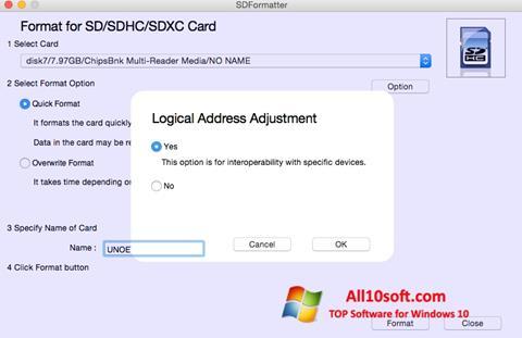 צילום מסך SDFormatter Windows 10
