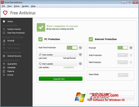 צילום מסך Avira Free Antivirus Windows 10