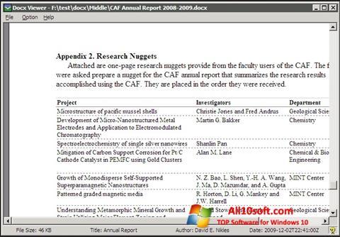 צילום מסך DocX Reader Windows 10