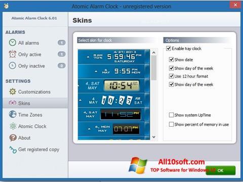 צילום מסך Atomic Alarm Clock Windows 10