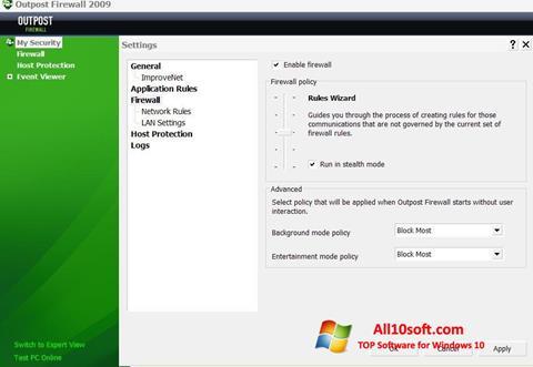 צילום מסך Outpost Firewall Free Windows 10
