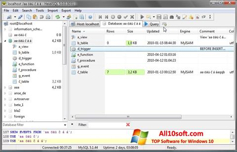 צילום מסך HeidiSQL Windows 10
