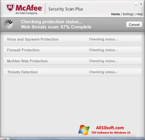 צילום מסך McAfee Security Scan Plus Windows 10