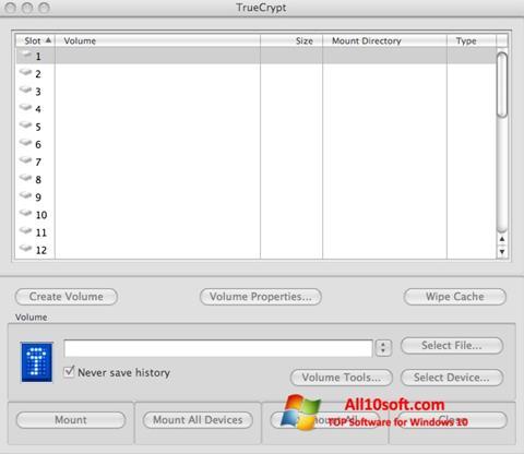 צילום מסך TrueCrypt Windows 10