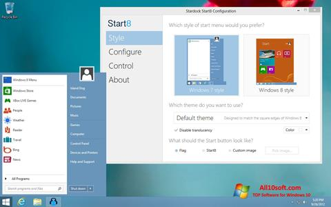 צילום מסך Start8 Windows 10