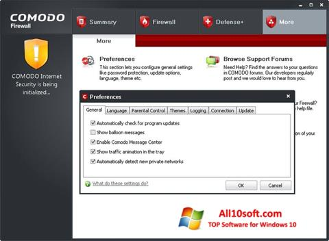 צילום מסך Comodo Firewall Windows 10