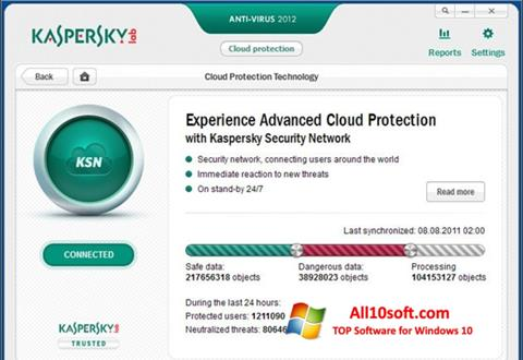 צילום מסך Kaspersky Free Antivirus Windows 10