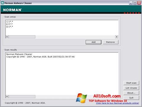 צילום מסך Norman Malware Cleaner Windows 10