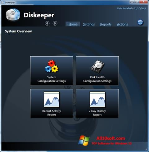 צילום מסך Diskeeper Windows 10