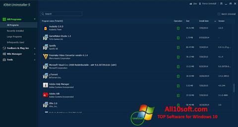 צילום מסך IObit Uninstaller Windows 10