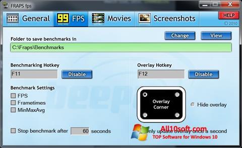 צילום מסך Fraps Windows 10