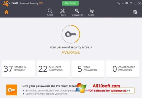צילום מסך Avast Internet Security Windows 10