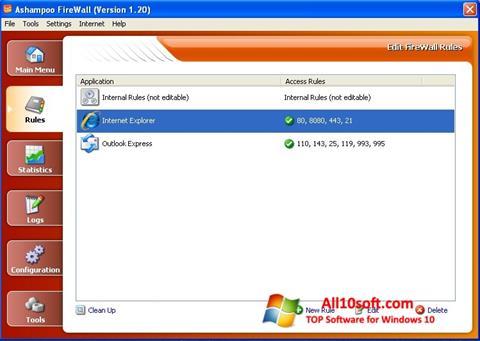 צילום מסך Ashampoo Firewall Windows 10