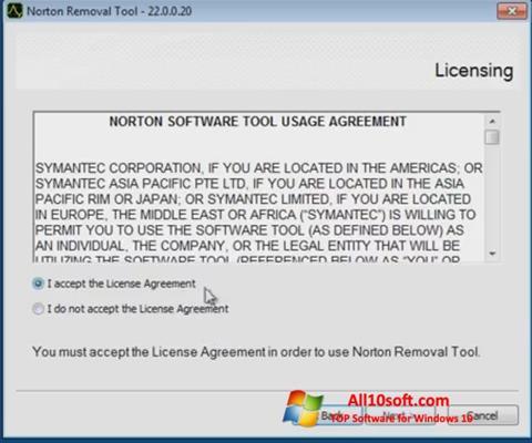 צילום מסך Norton Removal Tool Windows 10