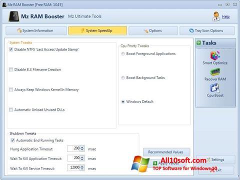 צילום מסך Mz RAM Booster Windows 10
