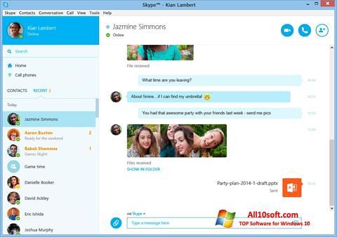 צילום מסך Skype Windows 10