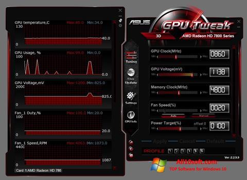 צילום מסך ASUS GPU Tweak Windows 10