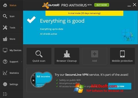 צילום מסך Avast! Pro Antivirus Windows 10