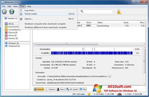 צילום מסך qBittorrent Windows 10