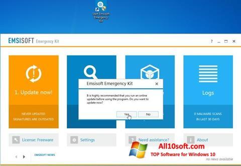 צילום מסך Emsisoft Emergency Kit Windows 10
